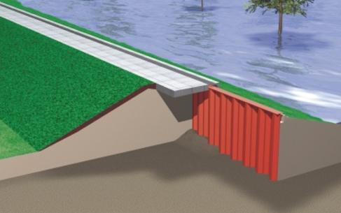 Sheet piling flood wall