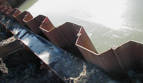 Installation of sheet pile dimensions